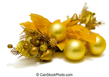 "Yellow Poinsettia Flower ""Christmas Star"". Christmas-tree decorations. Left top down view"