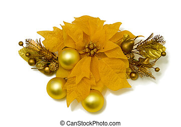 "Yellow Poinsettia Flower ""Christmas Star"". Christmas-tree decora"