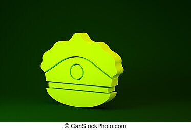 Yellow Police cap with cockade icon isolated on green ...
