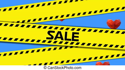 Yellow police tapes with Sale text against multiple red hearts on blue background