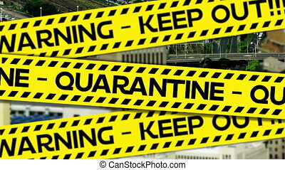 Yellow police tapes with Warning and Quarantine text against...
