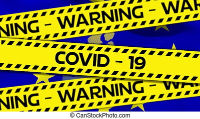 Yellow police tapes with words Warning Covid-19 text against...
