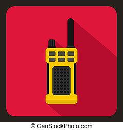 Yellow portable handheld radio icon, flat style