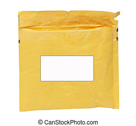 yellow post envelope on a white background