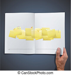 Yellow Post-it inside a book.