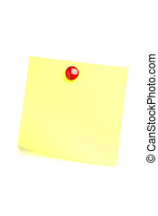 Yellow Post it note with red drawing pin isolated on white.