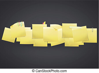 Yellow Post-it on black background. Vector design