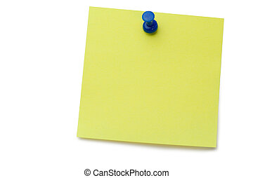 Yellow post-it with drawing pin on a white background