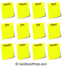 yellow post it with months calendar