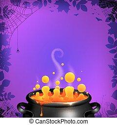 Yellow potion in black cauldron on orange background