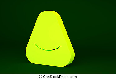 Yellow Pouf icon isolated on green background. Soft chair. Bag for the seat. Comfortable furniture armchair. Minimalism concept. 3d illustration 3D render.