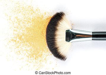 yellow Powder Eyeshadow on a Brush, fashion beauty tool...