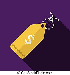Yellow price tag flat vector icon