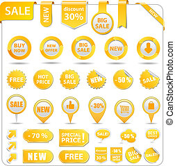 Yellow Price Tags - Big set of price tags, ribbons, arrows...