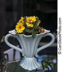 yellow primrose in a white antique vase on the antiques market