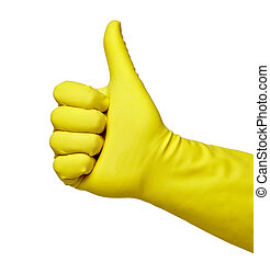 yellow protective glove - close up of hand in protective...