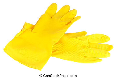 Yellow protective gloves - Household rubber protective...