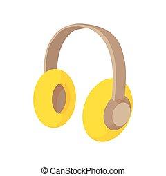 Yellow protective headphones icon, cartoon style