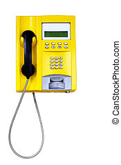 Yellow public telephone isolated over white background