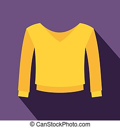 Yellow pullover icon, flat style