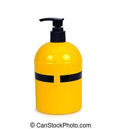 Yellow pump head bottle on white background.