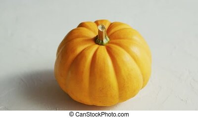 Yellow pumpkin laid in middle - From above view of ripe ...