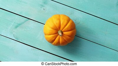 Yellow pumpkin lain in middle - From above view of fresh...
