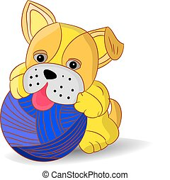 Yellow puppy playing with a ball of yarn, cartoon on a white background.
