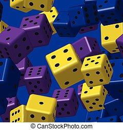 Yellow Purple Blue Dice Seamless Pattern