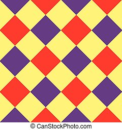 Yellow Purple Red Diamond Chessboard Background