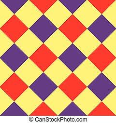 Yellow Purple Red Diamond Chessboard Background