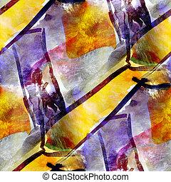 yellow, purple seamless wallpaper watercolor abstract avant-...