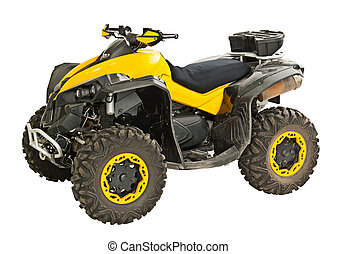 Yellow quadbike isolated on white