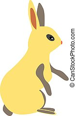 Yellow rabbit, illustration, vector on white background.