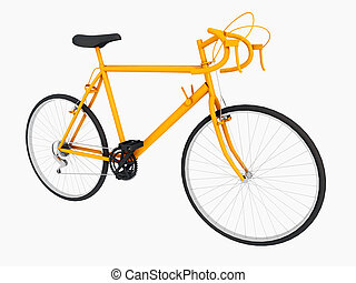 Yellow racing bicycle isolated on white background