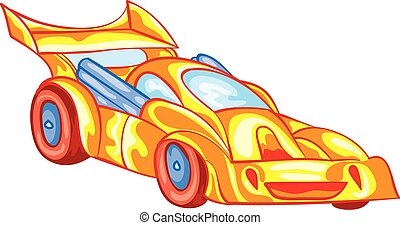 yellow racing car with driver inside, toy, isolated object on a white background, vector illustration,