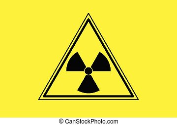 Yellow radiation sign triangle on yellow background, flat...