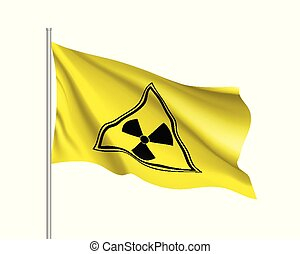 Yellow radiation sign triangle on yellow background - Yellow...
