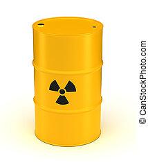 Yellow Radioactive Waste Barrel