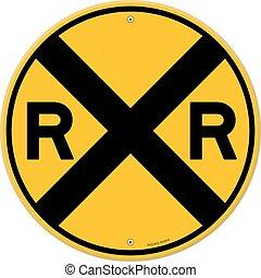 Railroad warning symbol isolated on white background