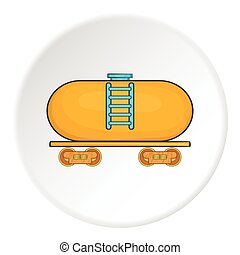 Yellow railroad tank icon, cartoon style