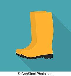yellow rain rubber boots icon -vector illustration