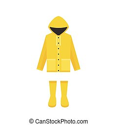 yellow raincoat and rubber boots, flat design for rainy...
