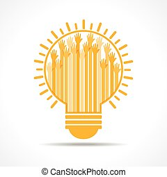 Yellow raised hand in the lightbulb