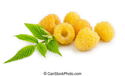 Yellow raspberries isolated on the white background