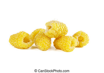 Yellow raspberries isolated on white background