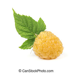 Yellow raspberries with green leaves isolated on white background.
