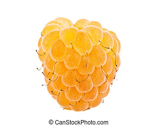Yellow raspberry isolated on white background