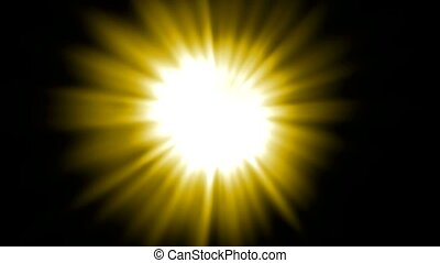 yellow ray light, sunlight, flare laser in space