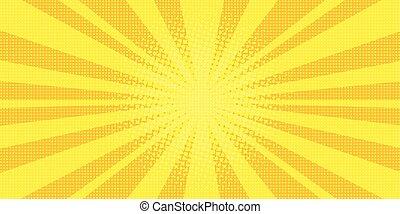yellow rays background pop art